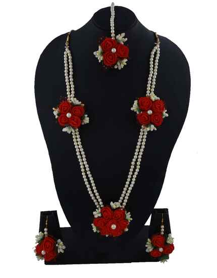Stunning Red Colour Flower Jewellery Set For Baby Shower
