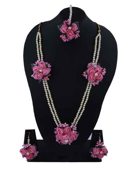 Pink Colour Flower Jewellery for Haldi Function