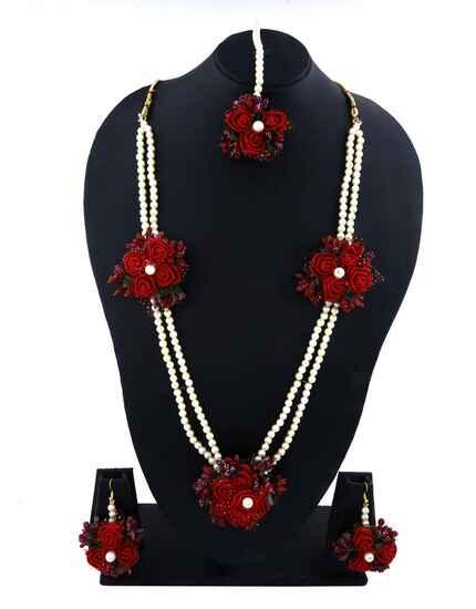 Trendy Red Colour Flower Jewellery Set for Women