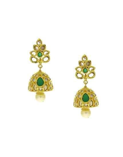 Fancy Green Colour Golden Finish American Diamond Earrings