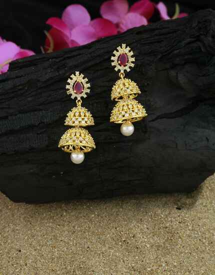Excellent Golden Finish Pink Colour American Diamond Earrings