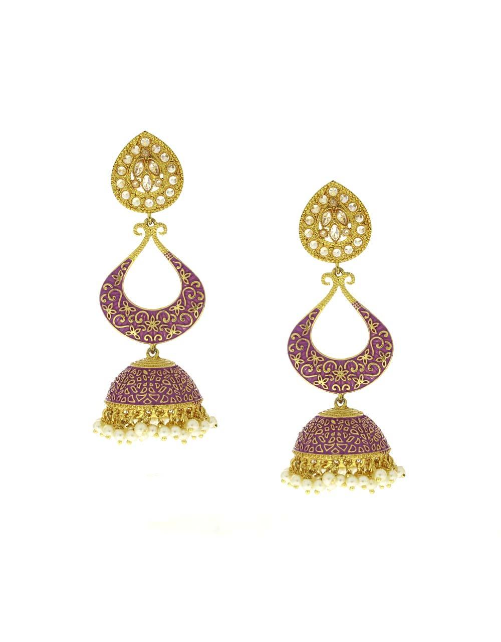 Purple Colour Golden Finish Traditional Earrings Latest Design