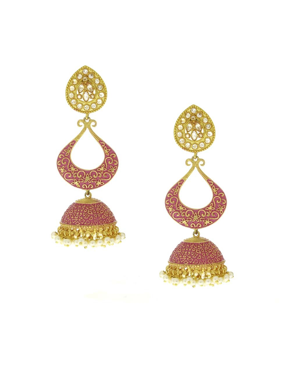 Pink Colour Golden Finish Traditional Earrings for Girls Stylish