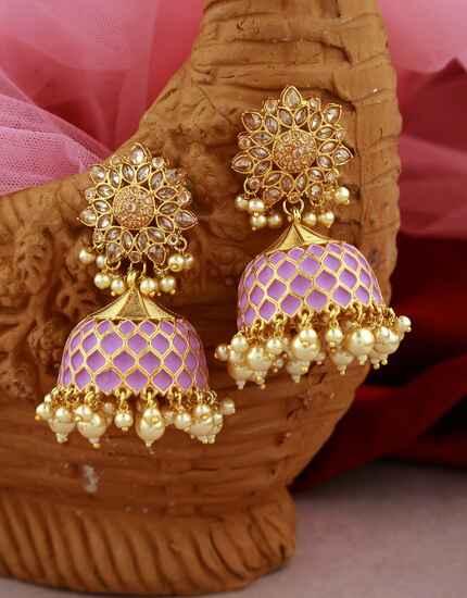 Fancy Purple Colour Golden Finish Traditional Earrings