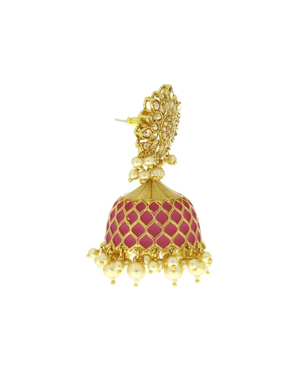 Stunning Pink Colour Golden Finish Traditional Earrings for Women