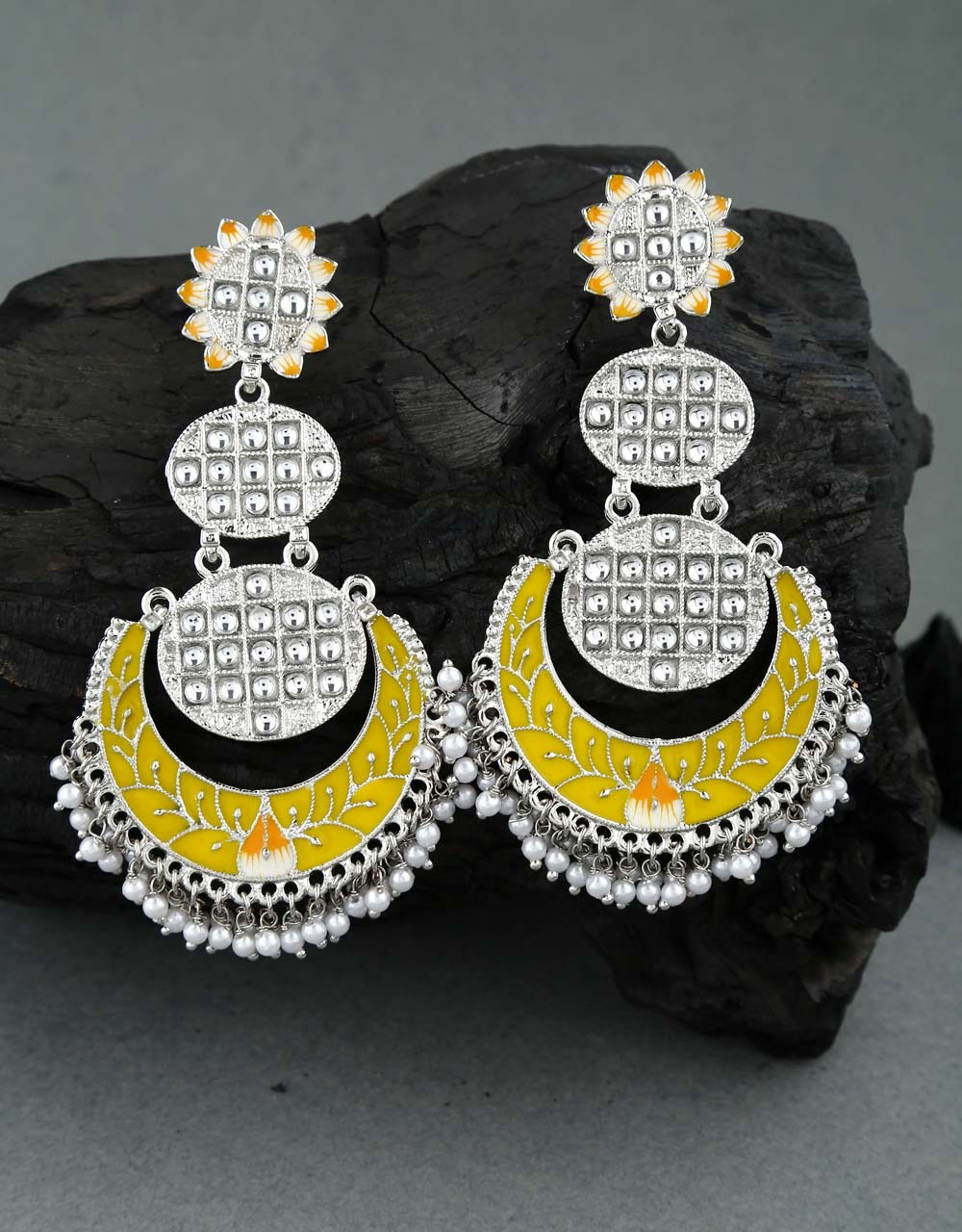 Parrot Green Colour Silver Finish Traditional Earrings for Women