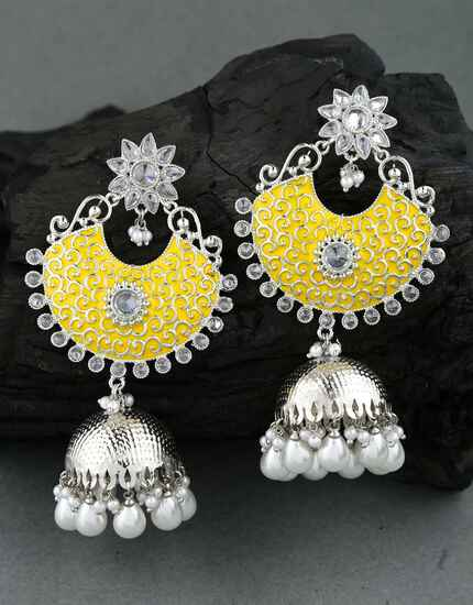 Yellow Colour Silver Finish Traditional Earrings for Girls