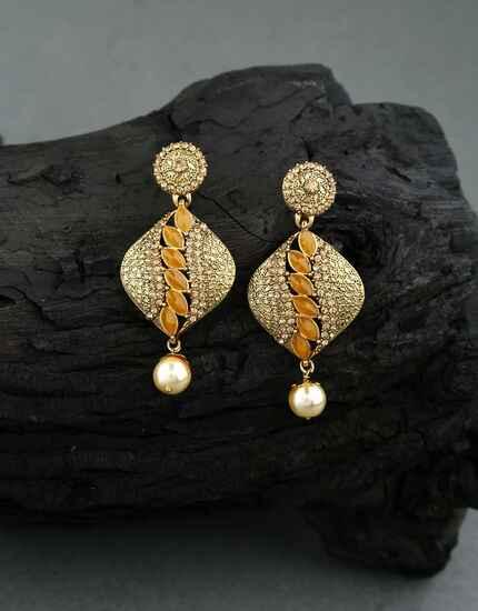Golden Finish Stone Studded Traditional Earrings Latest Design