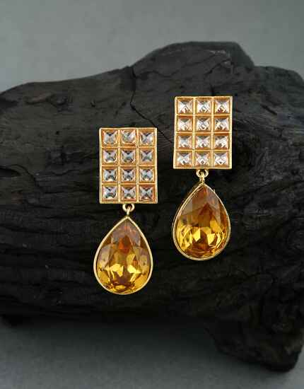 Unique Golden Finish LCT Stone Studded Traditional Earrings