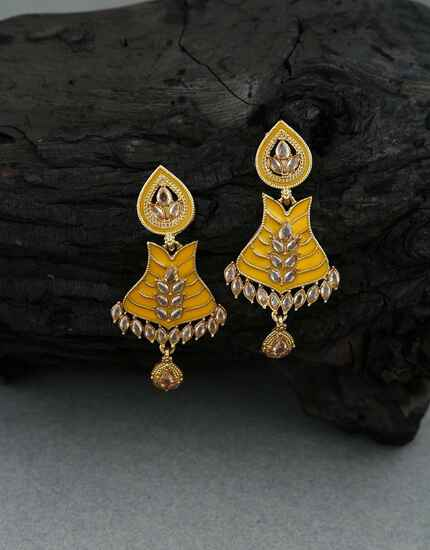 Yellow Colour Golden Finish Traditional Earrings for Women