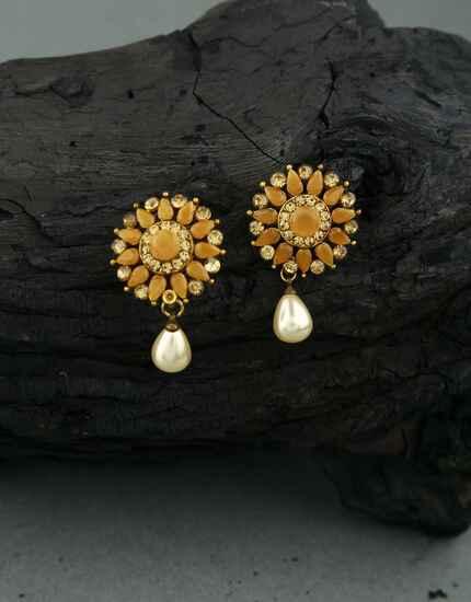 Orange Colour Golden Finish Traditional Earrings for Girls