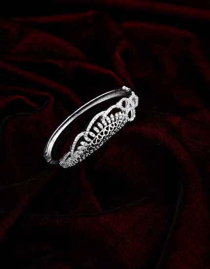 Silver Finish Designer American Diamond Studded Bracelet for Girl