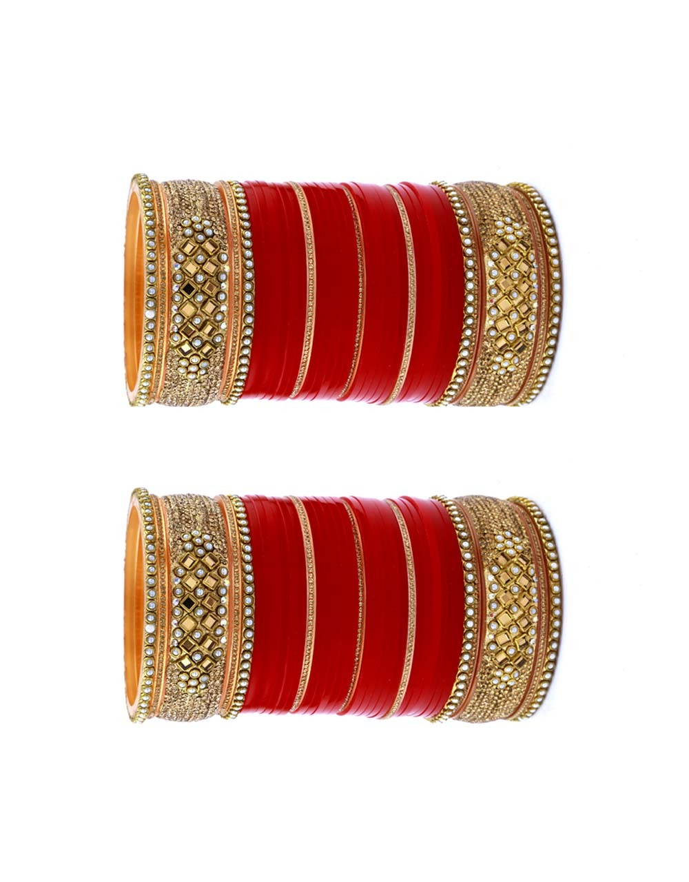 Red Colour Fancy Punjabi Chura Set for Women Styled with Stones