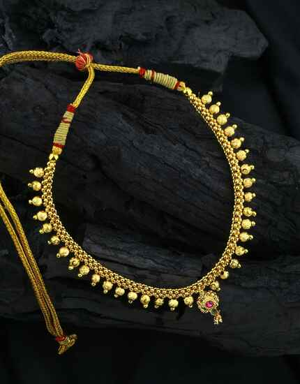 Gold Plated Adorable Fancy Maharashtrian Thushi Necklace for Women