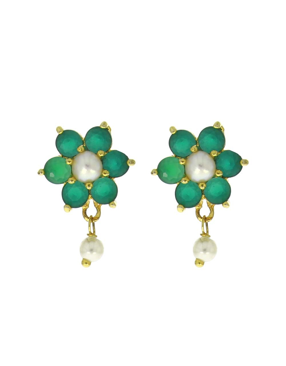 Green Colour Adorable Flower Design Ear Tops with Pearl Droplet