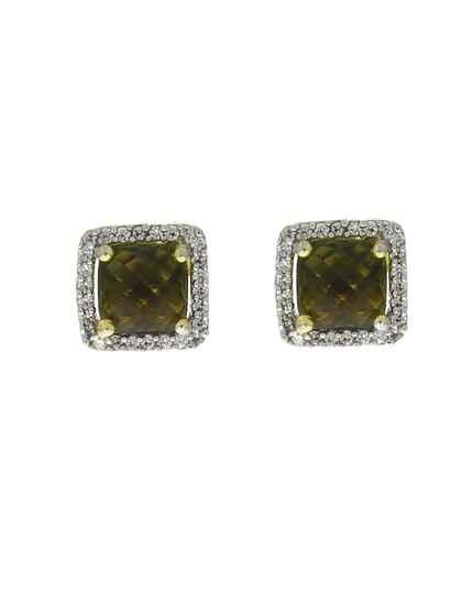 Green Colour Square Shape Adorable Ear Studs for Women