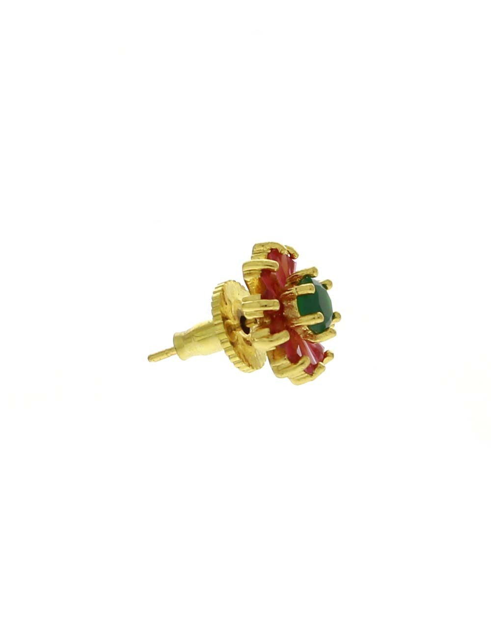 Pink-Green Combination Round Shape Ear Tops for Women