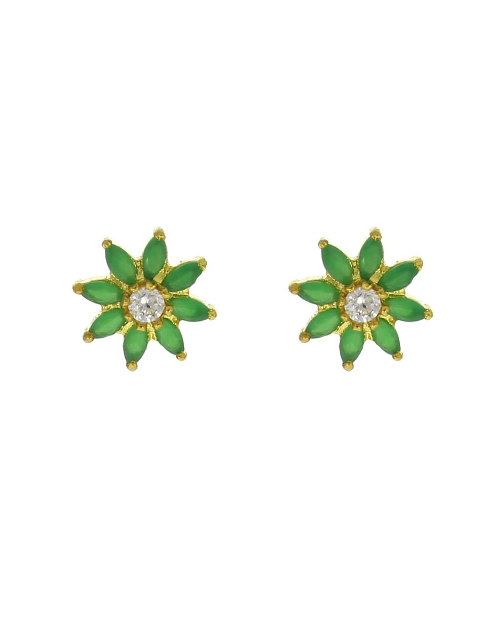 Green Colour Floral Design Beautiful Ear Tops for Women