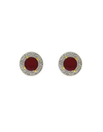 Round Shape Dazzling Pink Colour Ear Tops for Women