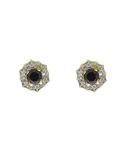 Black Colour Dazzling American Diamond Studded Ear Tops for Women