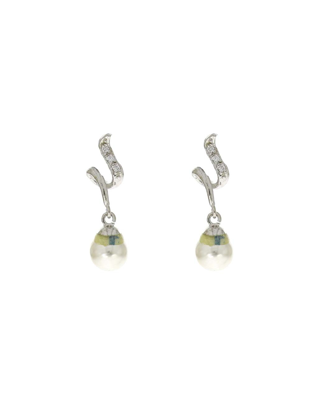 Silver Finish Dazzling American Diamond Studded Hanging Earrings for Women
