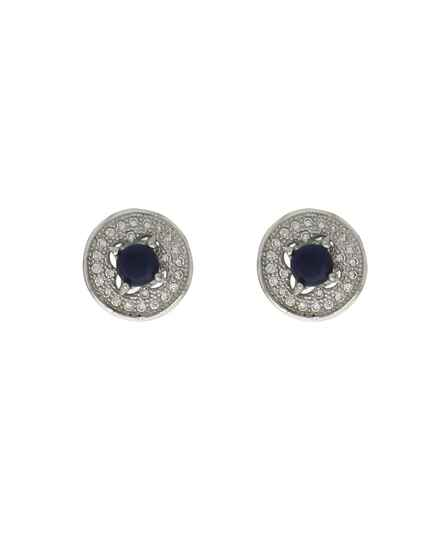 Silver Finished Appealing American Diamond Studded Fancy Ear Stud