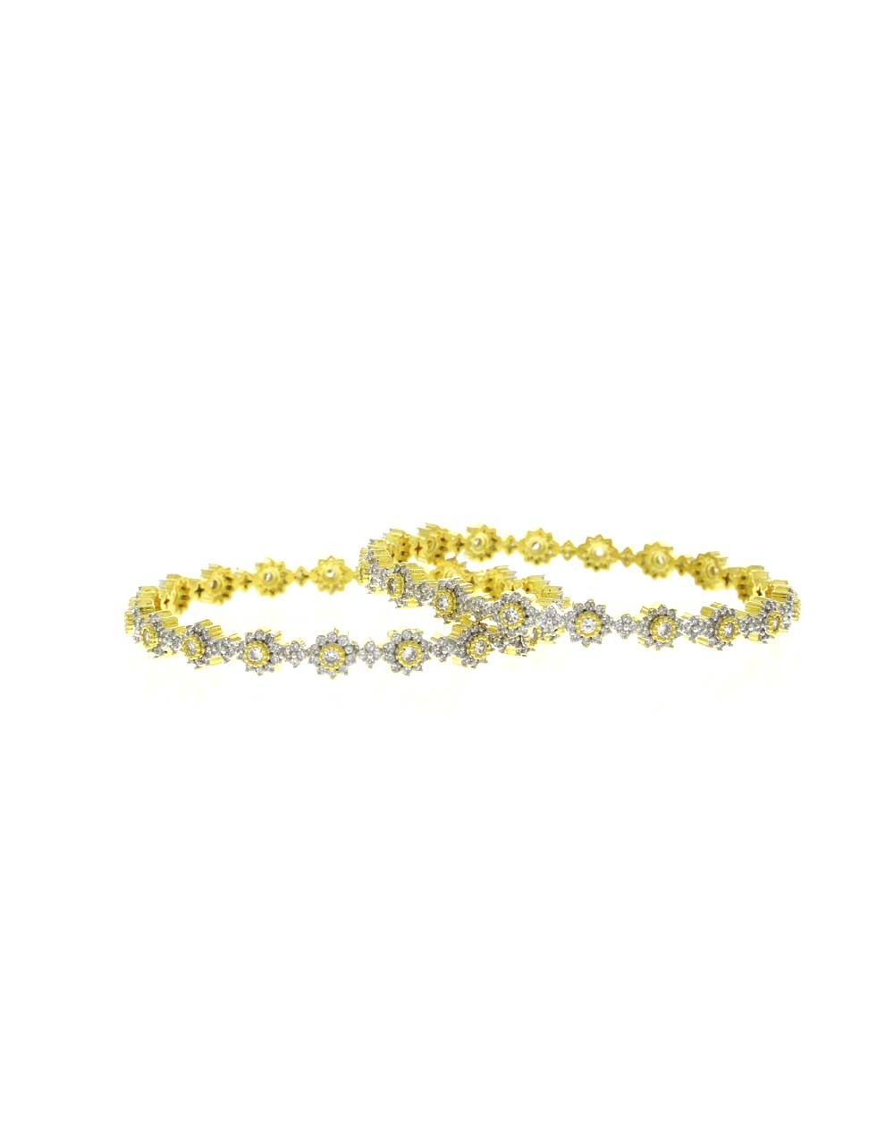 Floral Design American Diamond Studded Fancy Pair of Bangles