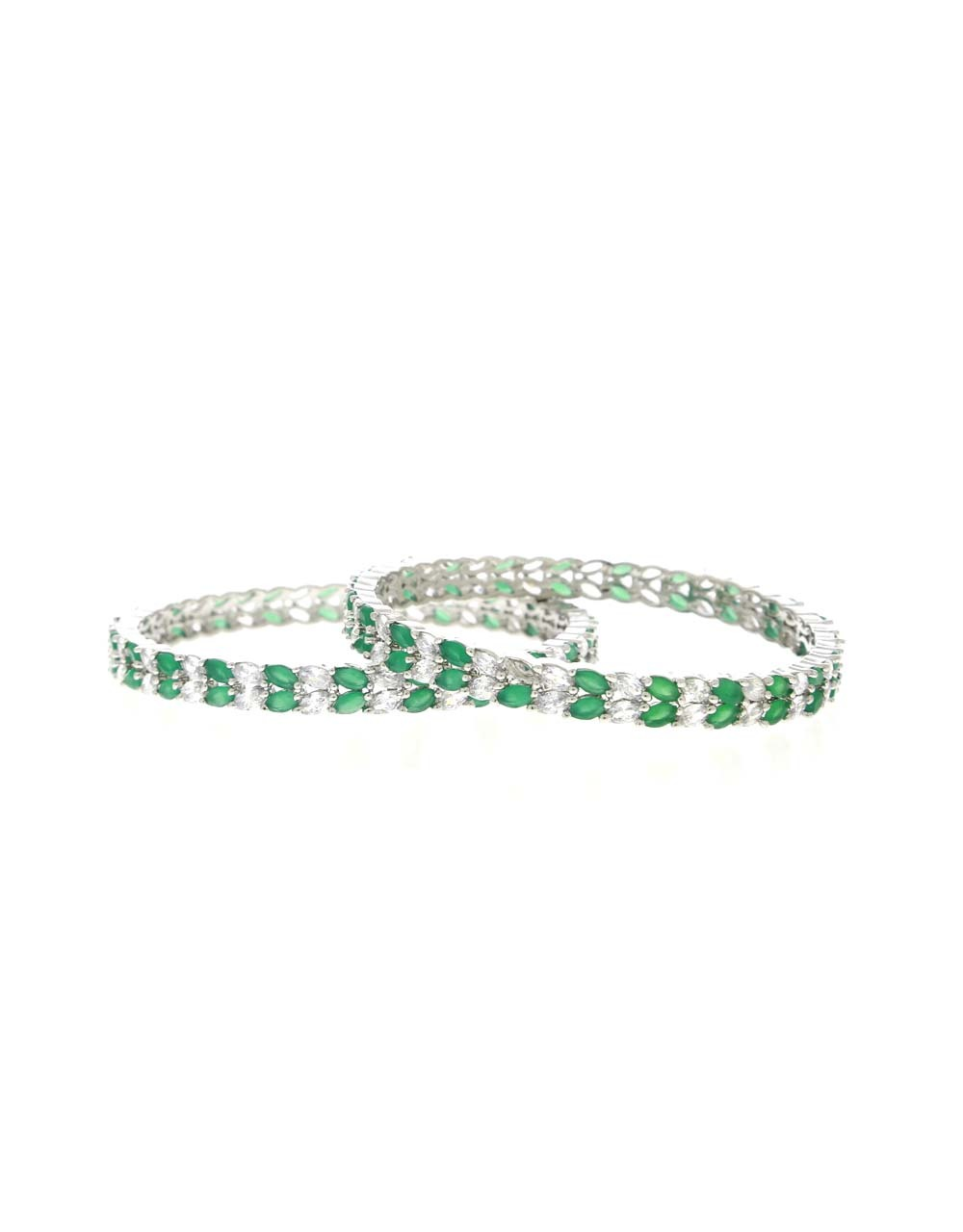Green Colour Dazzling Pair of Bangles for Women
