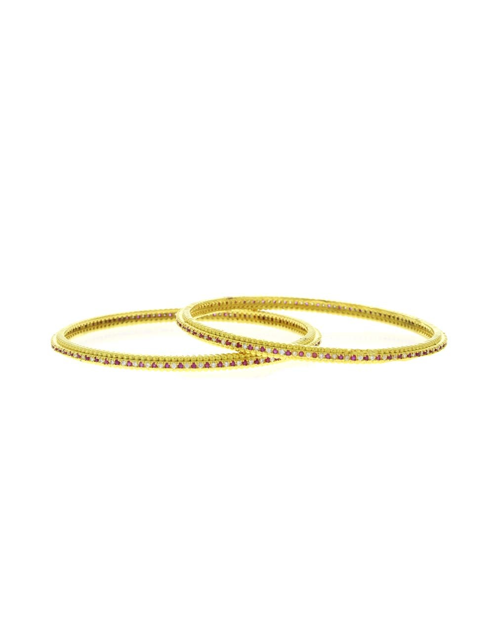 Delicate Pink-White Stone Studded Fancy Bangles for Women
