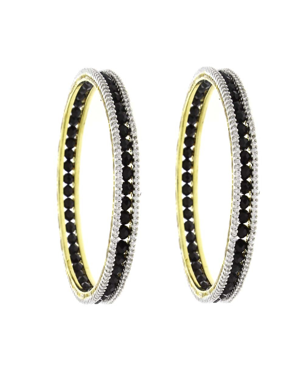 Black Crystal Embedded Fancy Pair of Bangles for Women