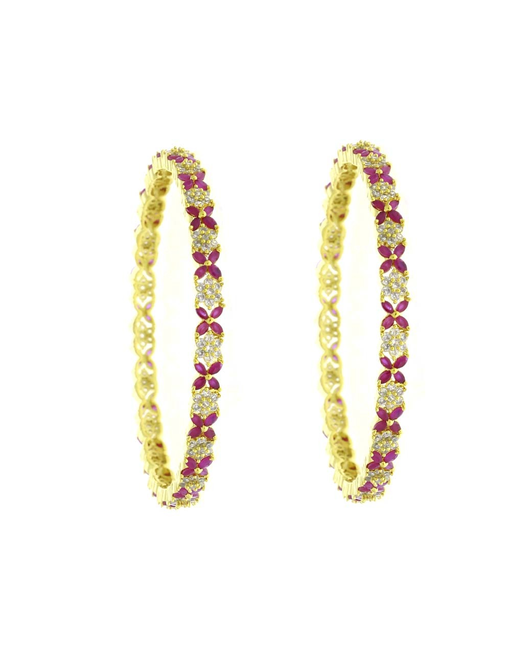 Pink Colour Floral Design Beautiful Pair of Bangles for Women