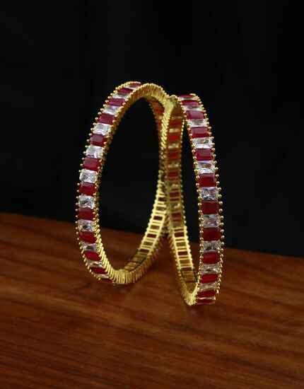 Pink Colour Stylish Pair of Ruby Bangles for Women