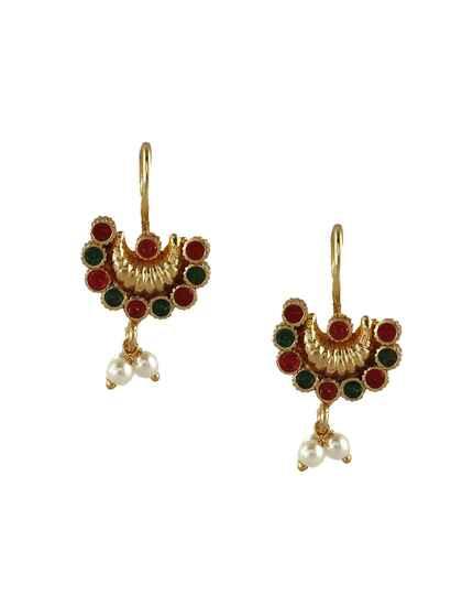 Anuradha Art Red-Green Colour Leaf Shape Adorable Bugadi Earrings for Women