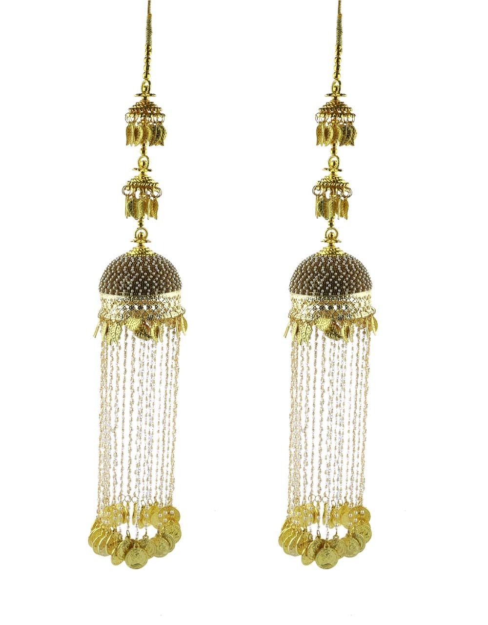 Fancy Gold Plated Adorable Pearl Strings Bridal Kalira