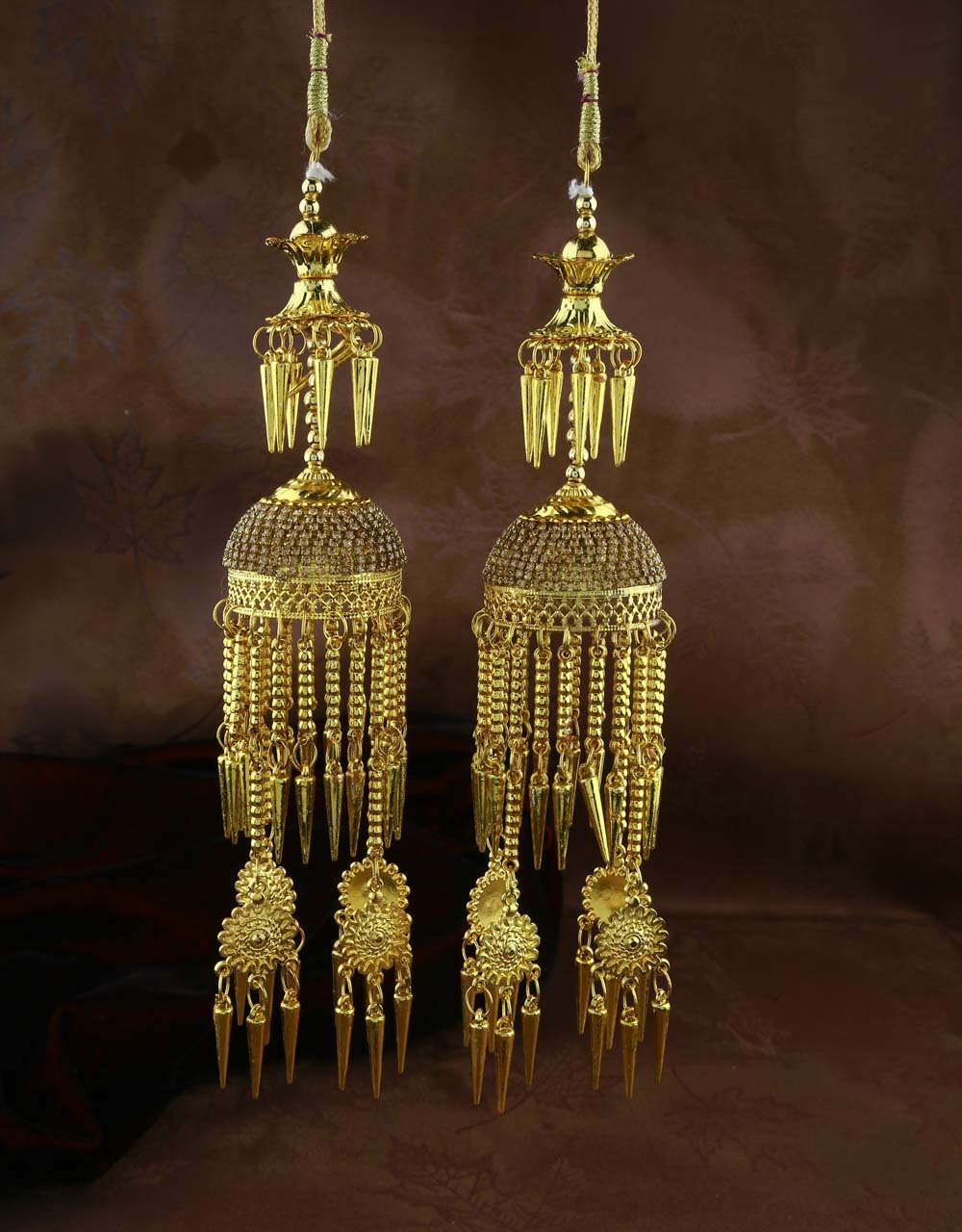 Gold Finish Stylish Kalira for Women with Hanging Droplets