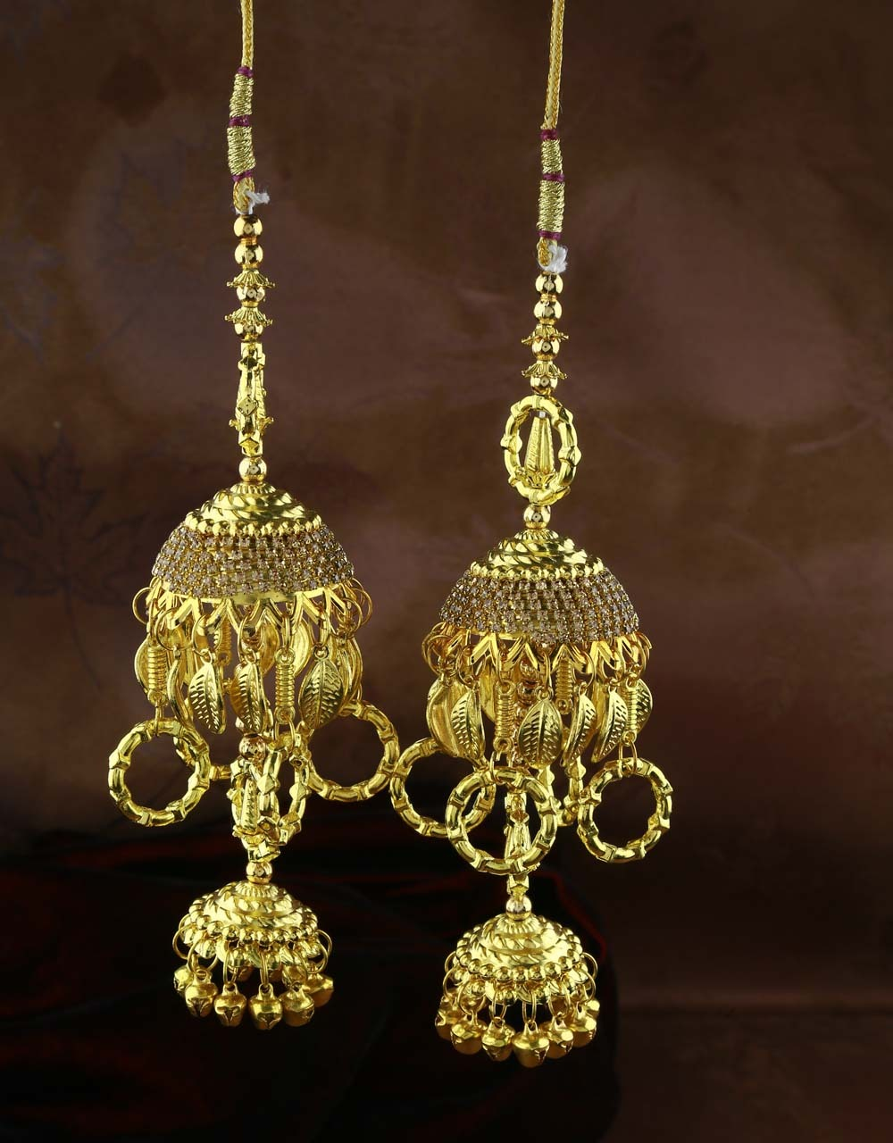 Gold Finished Appealing Pair of Kalira for Women with Hanging Droplets