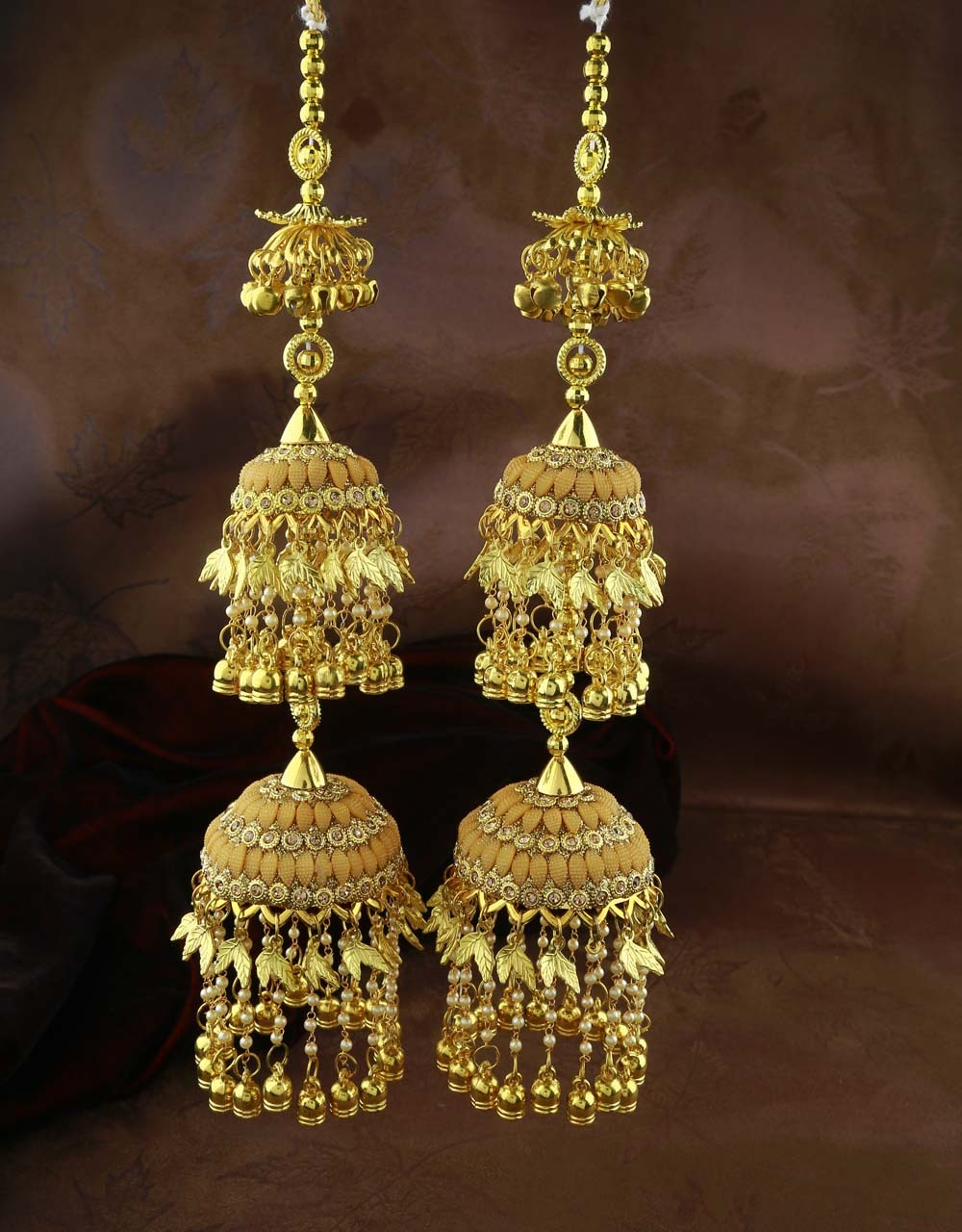 Double Layer Stunning Pair of Kalira for Women with Hanging Droplets