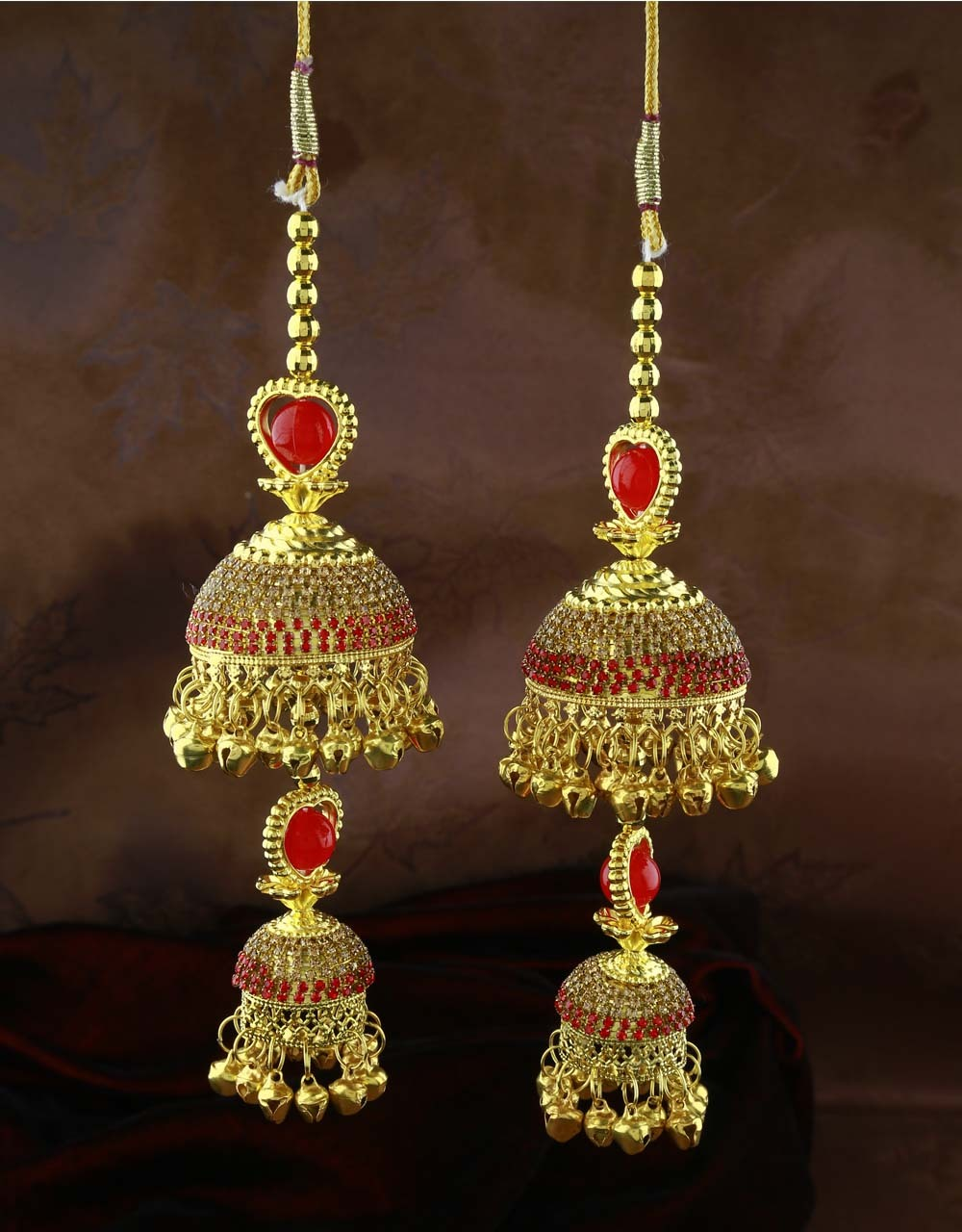 Red Colour Double Layer Beautiful Pair of Kalira for Women