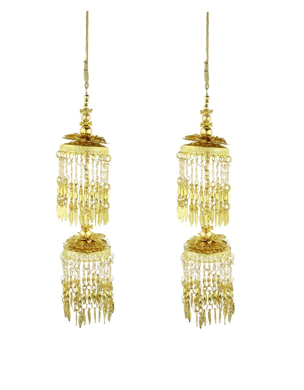 Golden Finished Double Tier Appealing Pair of Kalira for Women