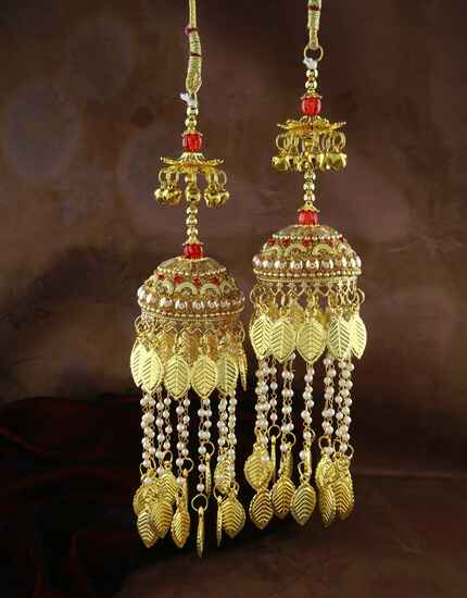 Beautiful Red Colour Double Tier Kalira for Bride with Fancy Hanging Strings