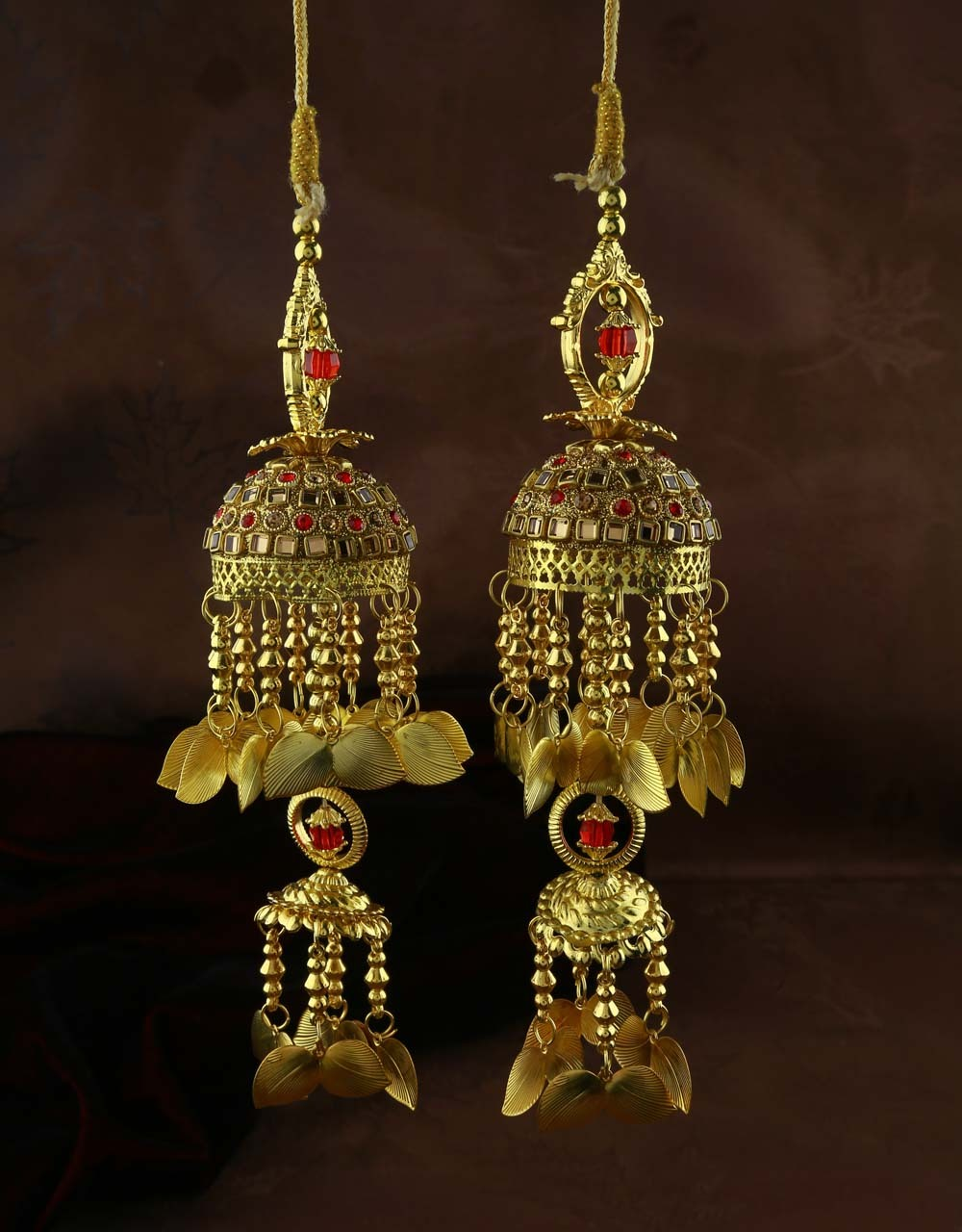 Red Colour Dazzling Pair of Kalira for Women with Hanging Leaf Droplets