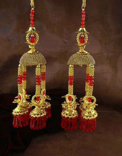 Dazzling Red Colour Sparkling Stone Embedded Kalira for Women