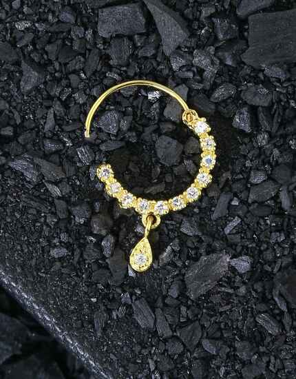 Golden Colour Studded Shimmering Stone Bridal Nose Ring, Nath Traditional Dulhan Nath For Girls