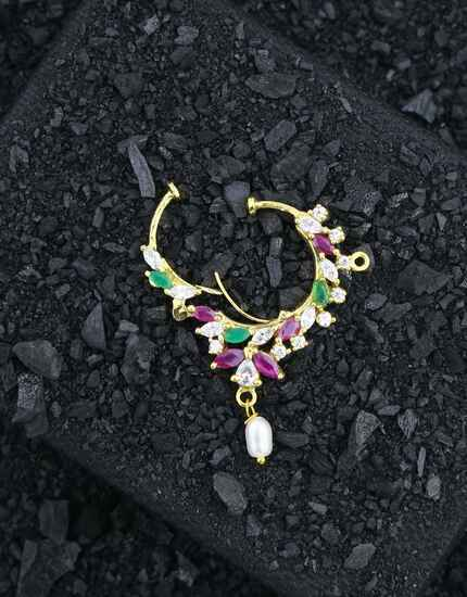 Pink-Green Colour Designer Bridal Nath, Nose Ring Traditional Nath For Women