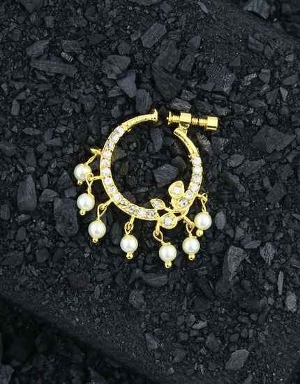 Golden Finish Studded Stone Bridal Nose Ring, Nath For Traditional Look