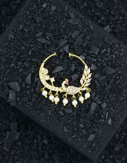 Peacock Styled Adorable American Diamonds Nose Ring, Nath, Clip On Nath For Women