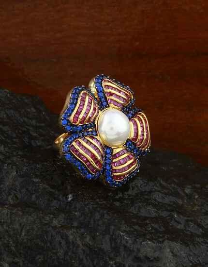 Anuradha Art Pink-Blue Colour American Diamond Finger Ring For Women