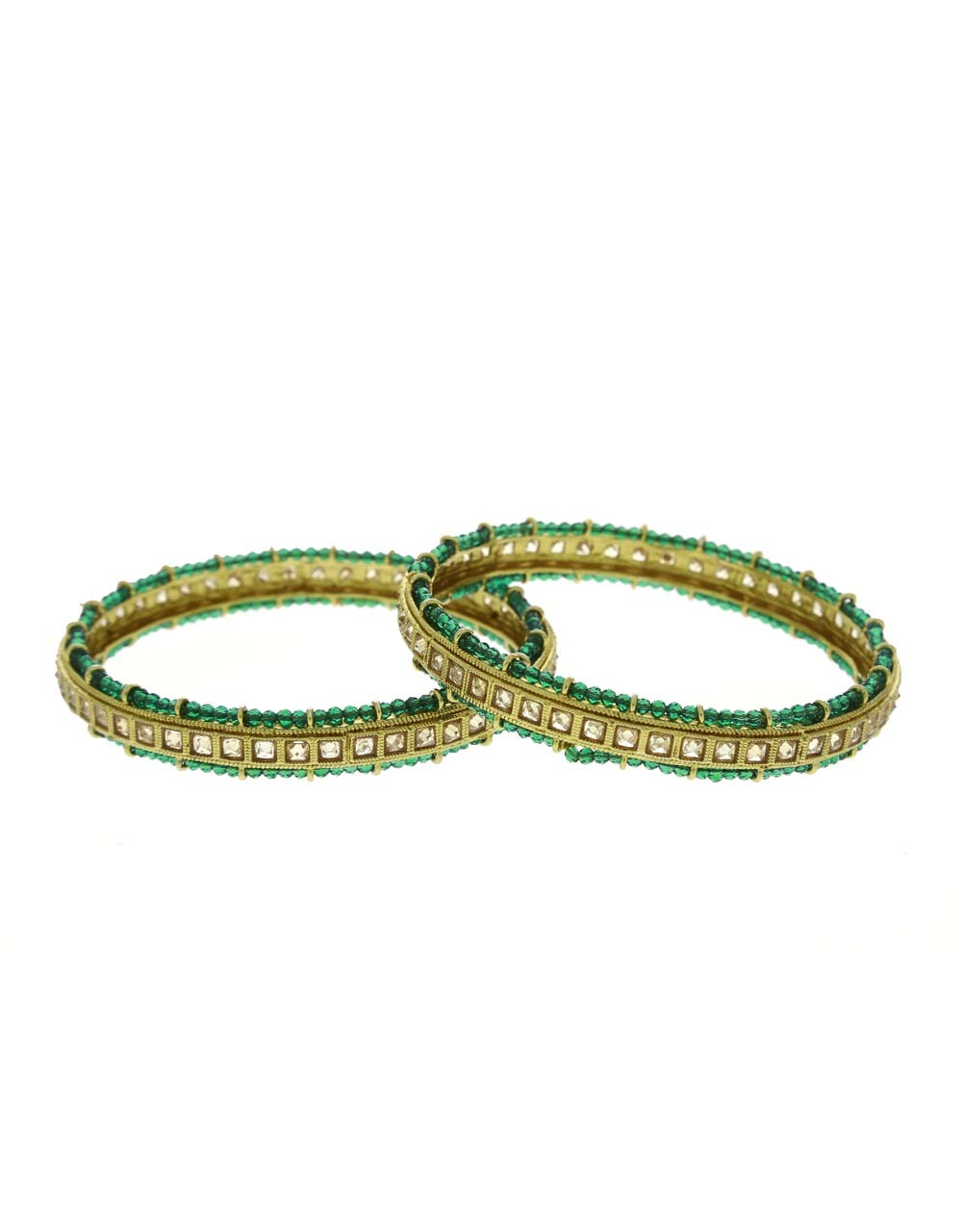 Green Colour Designer Styled With Crystal Beads Bangles For Women