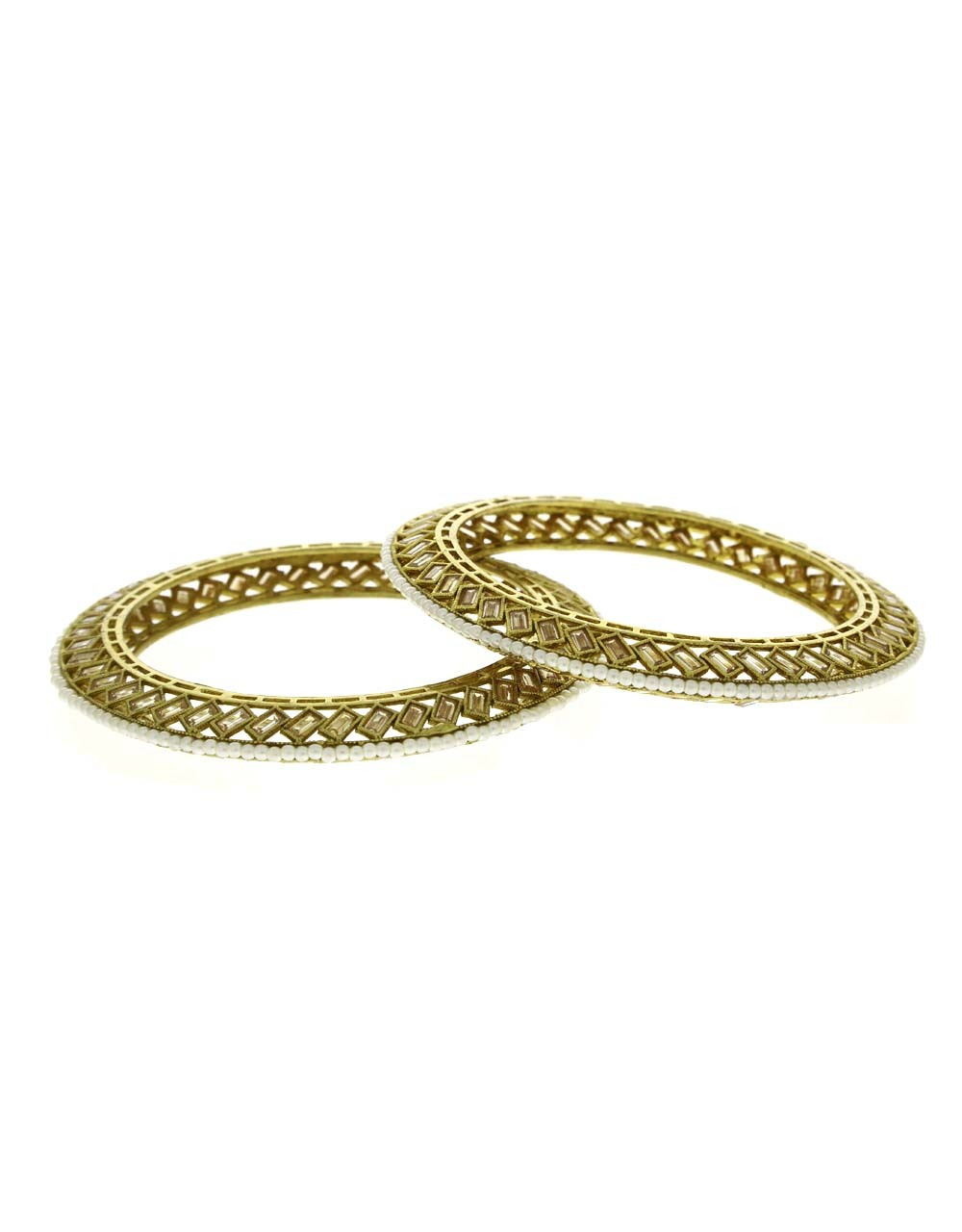 Antique Gold Finish Styled With Bead Designer Kada Bangles For Women