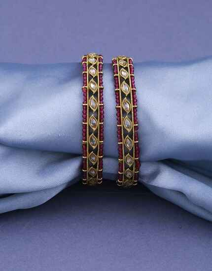 Ruby Pink Colour Adorable Fancy Bangles Set For Girls